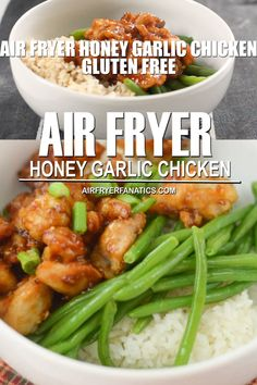 Make a delicious dinner with this Air Fryer Honey Garlic Chicken. It's also an easy dinner to make gluten-free too, plus no oil! Air Fryer Recipes Videos, Air Fryer Recipes Appetizers, Air Fryer Recipes Breakfast, Air Fryer Oven Recipes, Air Frier Recipes, Air Fryer Dinner Recipes, Lunch Recipes, Cooking Recipes, Cooking Hacks