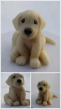 Lab puppy cake topper fondant by phototheque Fondant Dog, Fondant Animals, Fondant Cake Toppers, Fondant Cakes, Cupcake Cakes, Dog Cake Topper, Mini Cakes, Decors Pate A Sucre, Puppy Cake