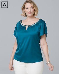 30b2305462 Plus Flutter-Sleeve Satin Blouse This color looks great on me! Blusas De  Verão