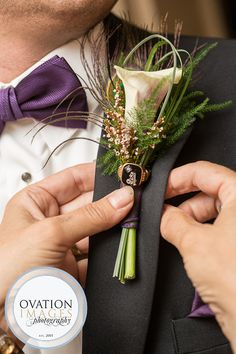 Ovation Images | ovationimages.com | Pittsburgh Wedding Photography | White Calla Lily | Wedding Boutonniere | Purple Wedding