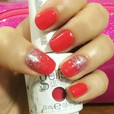 Red nails with silver glitter ombré. Gel polish only gelish by harmony.