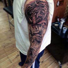 Wonderful Black And Grey Tattoo Male Full Sleeves