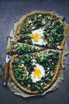 Kale, Chickpea, Egg Pizza with Oat Crust