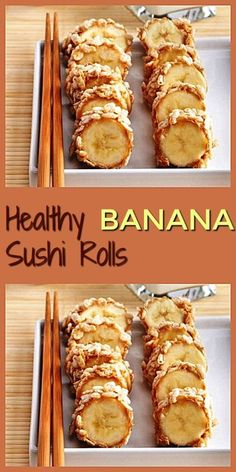 Healthy Snacks For Kids Healthy Banana Sushi Rolls. Tasty breakfast or snack idea. - What a great appetizer or snack idea. You can use your favorite nut butter and toppings. Kids will love these healthy banana sushi rolls. Healthy Breakfast Recipes, Snack Recipes, Healthy Recipes, Pancake Recipes, Breakfast Sushi, Sushi Recipes, Keto Snacks, Delicious Recipes, Banana Sushi