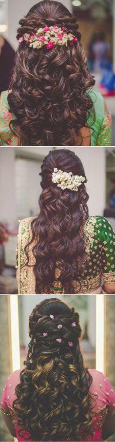 New Wedding Hairstyles Bride Updos Flower Ideas Saree Hairstyles, Open Hairstyles, Cool Braid Hairstyles, Ethnic Hairstyles, Wedding Hairstyles For Long Hair, Bride Hairstyles, Hairstyle Braid, Indian Party Hairstyles, Bun Braid