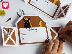 Pferdestall Karte mit hübschen Stickern verzieren