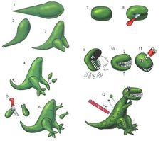 Fondant dinosaur tutorial, maybe use white sprinkles for teeth Mais Dinosaur Cupcakes, Dinosaur Cake Toppers, Dinosaur Birthday Cakes, T Rex Cake, Dino Cake, Cake Topper Tutorial, Fondant Tutorial, Fondant Animals, Toy Story Cakes