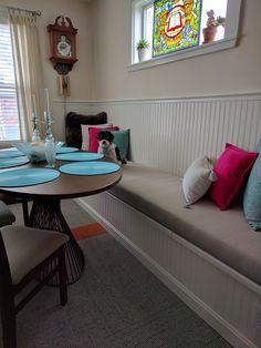 (customer photo) Custom bench cushion in sunbrella dupione dove.