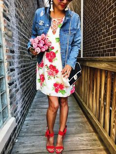 floral dress, flower dress, cute dress, spring outfit, summer outfit, how to style a denim jacket, how to style a floral dress, cute spring dresses, cute dresses, how to style your red shoes, outfit of the day, fashion inspiration, outfit ideas, chanel bag, how to style your chanel bag