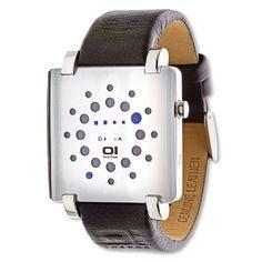 Gamma Ray GRQ116B1  Reloj 01The One. Original diseño con leds azules. Indica la fecha y la hora. Caja de acero inoxidable, cristal mineral endurecido, correa de piel genuína, resistente a 3 ATM. Estuche 01The One incluido.   Dos años de garantía Dimensiones (sin la correa): 39,60 mm x 50 mm x 11,90 mm