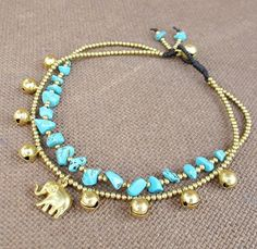 2 Strand Turquoise Stone Brass Bead Ankle Bracelet added Elephant Charm This piece I used an elephant charm, 2.4 mm brass beads, 6 mm and 8 mm brass