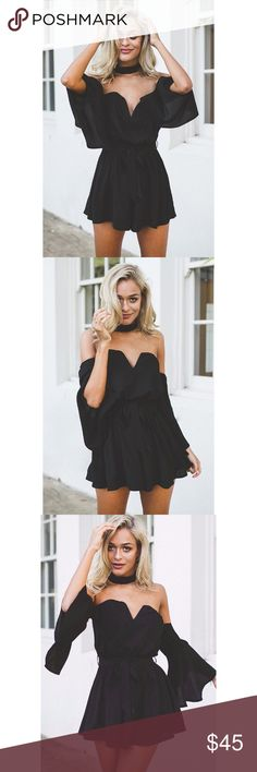 Black Bell Sleeves Choker Off-Shoulder Romper New with tags. Gorgeous and eye catching off-shoulder mid bell sleeves romper.                                                            100% polyester.                                                                                         ❌SORRY, NO TRADES. The O Boutique Pants Jumpsuits & Rompers