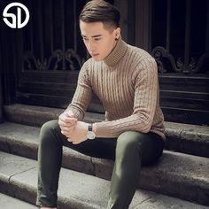 2017 Winter Thick Warm Cashmere Sweater Men Turtleneck Men Brand Mens Sweaters Slim Fit Pullover Men Knitwear Double collar