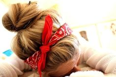 bandana and bun.... adorable, but bandanas itch my head....although with my short hair it'd hold in those stupid little hairs at the back of my neck.