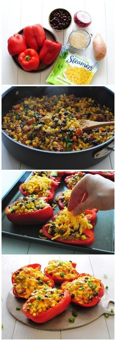 Black Bean, Corn Quinoa Stuffed Peppers. Used taco seasoning, no sweet potato, no cilanteo, cheese last 5 minutes, canned corn,