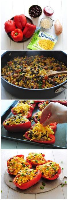Black Bean, Corn  Quinoa Stuffed Peppers