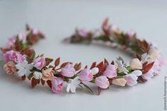 """Заколки ручной работы. Заказать Веночек для девочки с цветами яблони. """"Ручные цветы""""   Татьяна Косова. Ярмарка Мастеров. Венок, Праздник"""