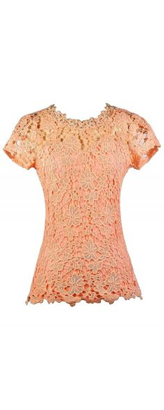 Lily Boutique Pearl Glam Embellished Crochet Lace Top in Peach, $32 Orange Peach Lace Top, Cute Lace Top, Pearl Lace Top, Lace Capsleeve Top, Peach Pink Lace Top, Cute Summer Top www.lilyboutique.com