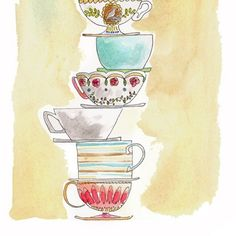 Watercolour Pile of Teacups 8x10 Print by augustwren on Etsy, $20.00