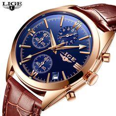 a3bb5b81b17 LIGE marca De Luxo mens de quartzo Dos Homens relógio relógio dos esportes  da forma do relógio de couro dos homens à prova d  água Relogio masculino +  caixa ...