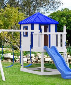Look what I found on #zulily! White & Blue Kids Swing Set by A&L Furniture #zulilyfinds