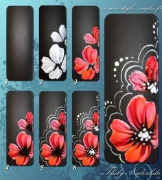 Flower nail art how to Nail Art Designs, Flower Nail Designs, Flower Nail Art, 3d Nail Art, Nail Arts, Orchid Nails, Les Nails, One Stroke Nails, Nail Decorations