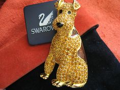 Another angle on the cutest dog brooch ever: Swarovski Swan Airedale Terrier