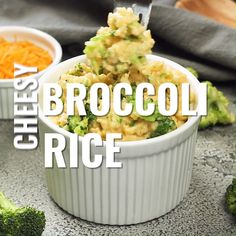 Rice - a delicious cheesy side dish that's also very versatile. You can you the cheese and veggie of your choice!Broccoli Rice - a delicious cheesy side dish that's also very versatile. You can you the cheese and veggie of your choice! Rice Side Dishes, Best Side Dishes, Healthy Side Dishes, Side Dish Recipes, Easy Dinner Recipes, Pasta Recipes, Food Dishes, Easy Meals, Cooking Recipes