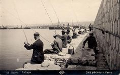 Fishermen on the wharf. Varna, Black Sea Coast of Bulgaria. Early 20th-century