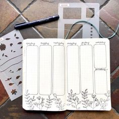 The A5 Basic measured out the vertical columns for me. The outside of this stencil provided the perfectly rounded corners. The Leaf & Vine Stencil helped me create the floral line drawing elements along the bottom. Bullet Journal Weekly Layout, January Bullet Journal, Bullet Journal Spread, Bullet Journal Inspiration, Journal Ideas, Time Management Techniques, Weekly Spread, Simple Flowers, Word Art