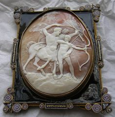 Chiron and Achilles, sardonyx shell, Italy 1820s-1830s,  micro mosaic embelishments on frame