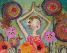 OM yoga inspired art PRINT 5x7 card. by Southendgirlart on Etsy