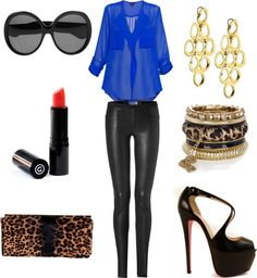 outfit: black sunglasses, blue sheer 3/4-sleeved buttonup pocketed blouse, black leather leggings, red lipstick, gold chandelier earrings, gold bracelets, leopardskin-printed clutch, black open-toed platform heels