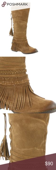 """Tall Leather Boho Chic Fringe Boots Naughty Monkey's  boot offers a fun and funky take on the classic Western boot. A fun fashionable boho style that is great for dresses, leggings, or jeans. Dress up or wear casual!  Suede leather upper with knit back, decorative straps and fringe. Back lace-up closure, Lightly cushioned footbed. Rubber outsole, 1-3/4"""" heel height. New in box 091720174689135 naughty monkey Shoes Over the Knee Boots"""