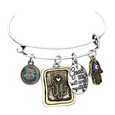 """Rosemarie Collections Women's """"Good Things Will Come My Way"""" Hamsa Hand Charm Bracelet. 4 charms: 2 detailed hamsa hands, an evil eye, and """"Good Things Will Come My Way"""" engraved disc. The Hamsa hand is spiritual symbol that protects against evil. 2.5 inch diameter opening, fits small to medium wrists. Bracelet has a burnished finish, for an antique look. Packaged in a gift box."""