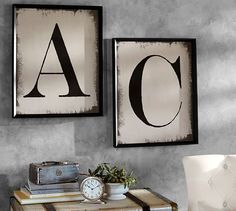 Painted Type Letter Framed Prints Pottery Barn Painted Type Letter Framed Prints<br> A bold, graphic element brings instant appeal in a room. Each of our letters is distressed for a hand-painted quality that adds visual interest. Pottery Barn Paint, Vintage Ski Posters, Paint Types, Name Art, Mirror Art, Mirrors, Letter Art, Boho, Diy