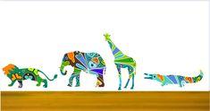 Animal Wall Decals,Lion Wall Decals, Elephant Wall Sticker, Colorful Giraffe Decal,Alligator Wall Decor, Safari Animal Decals, Kids Decor by Popitay on Etsy