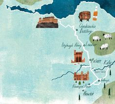 Tom Jay, map of visitor sites near Edinburgh, britiain, travel, editorial, illustration, texture, collage, lettering