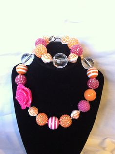 15.00 Girls' Hot Pink and Orange bubblegum Necklace and bracelet by CatiesBubblegumBling