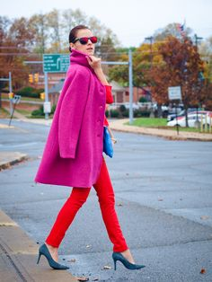pink fur vest with red outfit