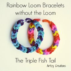 Rainbow Loom bracelet without the loom and using just two pencils.