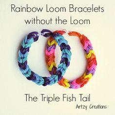 Triple Fish Tail Rainbow Loom Bracelet Using Two Pencils