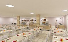 Arquitetura e estratégia. Célula para elaboração de alimentos no sistema Cook & Chill. Câmaras de armazenamento. Cozinha com área específica para preparo e distribuição das refeições de pacientes.  StudioIno     Hospital das Américas