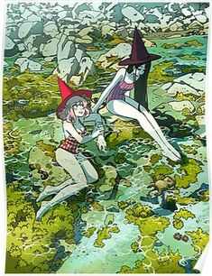 'Summer witches' Poster by Míriam Bonastre Pretty Art, Cute Art, Character Art, Character Design, Witch Drawing, Lesbian Art, Arte Sketchbook, Witch Art, Cartoon Art Styles