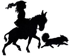 Free Silhouette Vectors Girl Horse Dog
