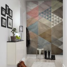 This geometrical wall mural brings life to your wall. Diagonals, squares and diamonds on wrinkled papel fills your wall.