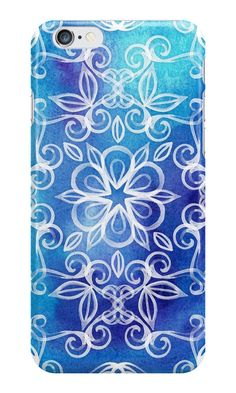 """White Floral Painted Pattern on Blue Watercolor"" iPhone Cases by micklyn 