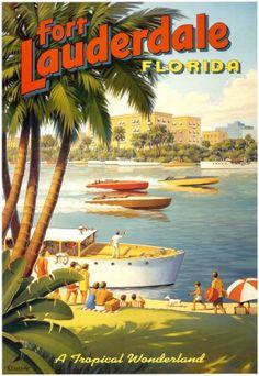 Amazon.com: Fort Lauderdale, Florida Art Poster Print by Kerne Erickson, 26x38: Home & Kitchen