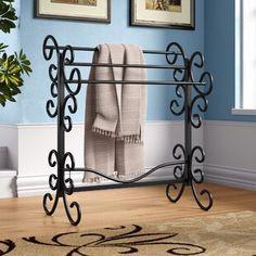 Great for Metal Scroll Quilt Rack by Fleur De Lis Living top rated furniture sale from top store Rustic Ladder, Diy Ladder, Diy Blanket Ladder, Wood Ladder, Ladder Decor, Rustic Blankets, Farmhouse Blankets, Blanket Rack, Barn Wood Decor