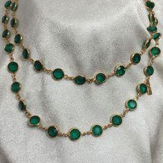 "Swarovski Crystal Emerald Green Open Back Bezel Goldtone Swan Tag 36"" Necklace #Swarovski #StrandString"